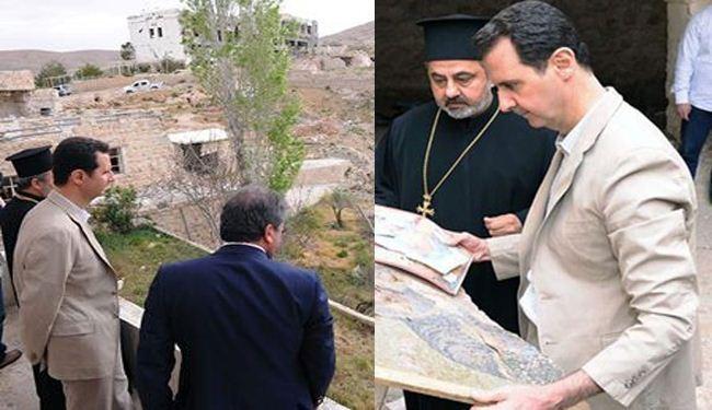 الرئيس السوري يزور معلولا في القلمون ويتفق احد الاديرة