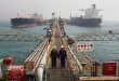 Oil tankers are anchored at Basra harbou