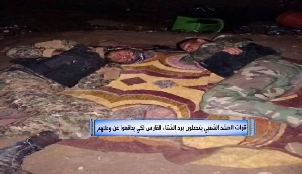 قوات الحشد الشعبي يتحملون برد الشتاء القارس لكي يدافعوا عن وطنهم