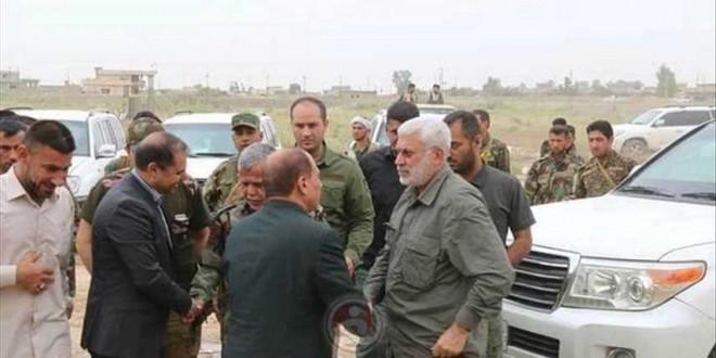 العامري والمهندس في قيادة عمليات نينوى للاطلاع على سير معارك الموصل
